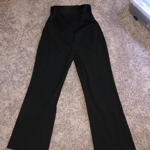 Black loft maternity slacks with full front panel